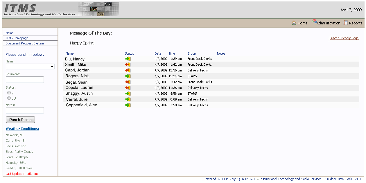 NJIT ITMS Employee Timeclock TLR Striking Web Solutions